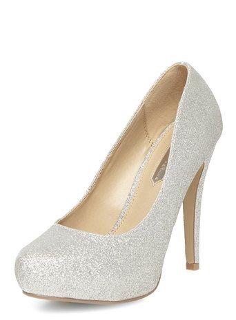 Silver glitter platform court shoes