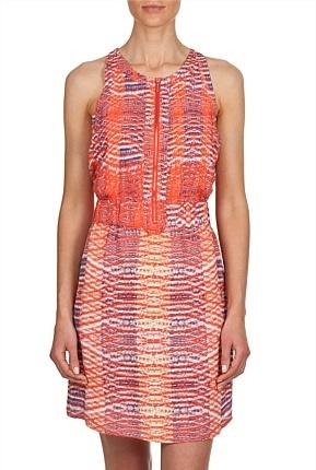 Print Zip Front Dress