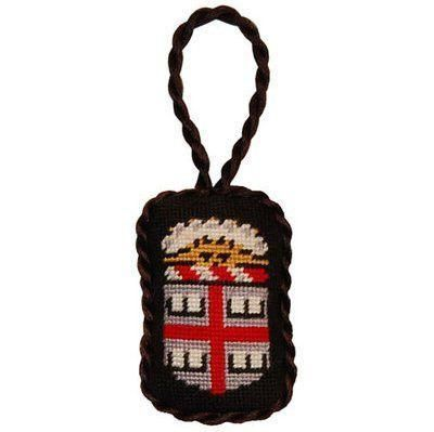 Brown University Needlepoint Christmas Ornament in Black by Smathers & Branson