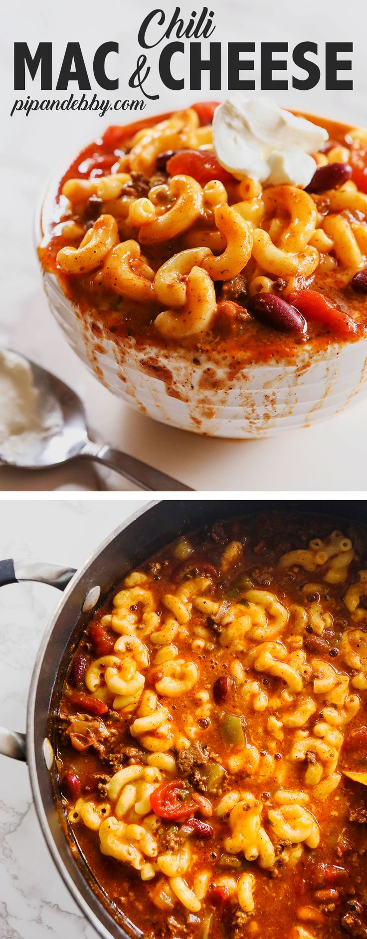Chili Mac and Cheese Recipe | Double the comfort food in this delicious dinner! #comfortfood #chilimac