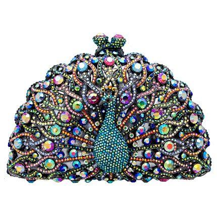 Swarovski crystal peacock clutch bag