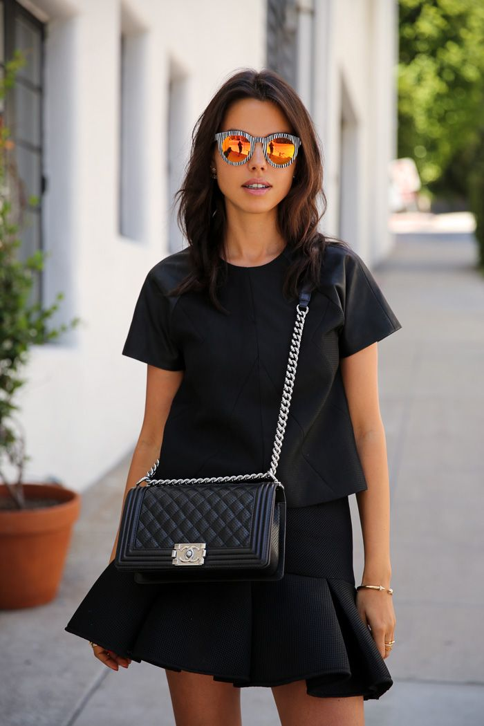 VIVALUXURY - FASHION BLOG BY ANNABELLE FLEUR: BASICALLY BLACK Sophia Webster Riko sandals { also love this black and rose gold option } | Finders Keepers top { similar option here } | Finders Keepers Time Traveller skirt | Chanel Boy flap bag | Crap Eyewear TV Eye shades via Nasty Gal | CAIA JEWELS Red Lips bracelet { also love these Red Lips earrings } | Vita Fede ultra mini double cubo ring August 27, 2014