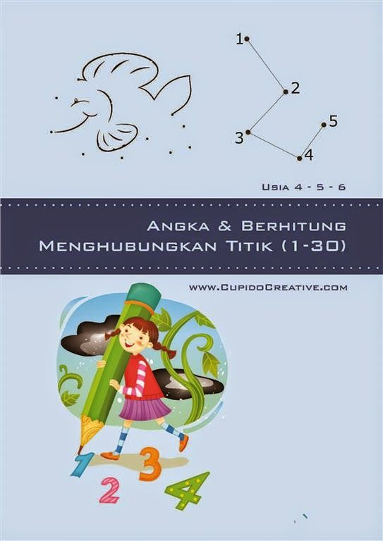Buku PAUD : menghubungkan titik untuk membentuk gambar sambil berhitung angka 1-30
