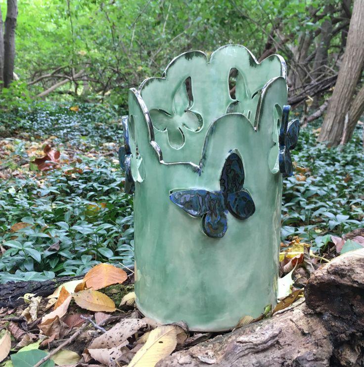 Large candle holder, clay lantern, candle luminary, green candle holder, ceramic candle holder, DL16207 by DanutaLoaneCeramics on Etsy