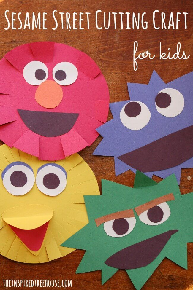This easy cutting craft for kids is perfect for all of those little Sesame Street lovers!  Great practice with scissors skills for kids of all ability levels. #ad                                                                                                                                                                                 More