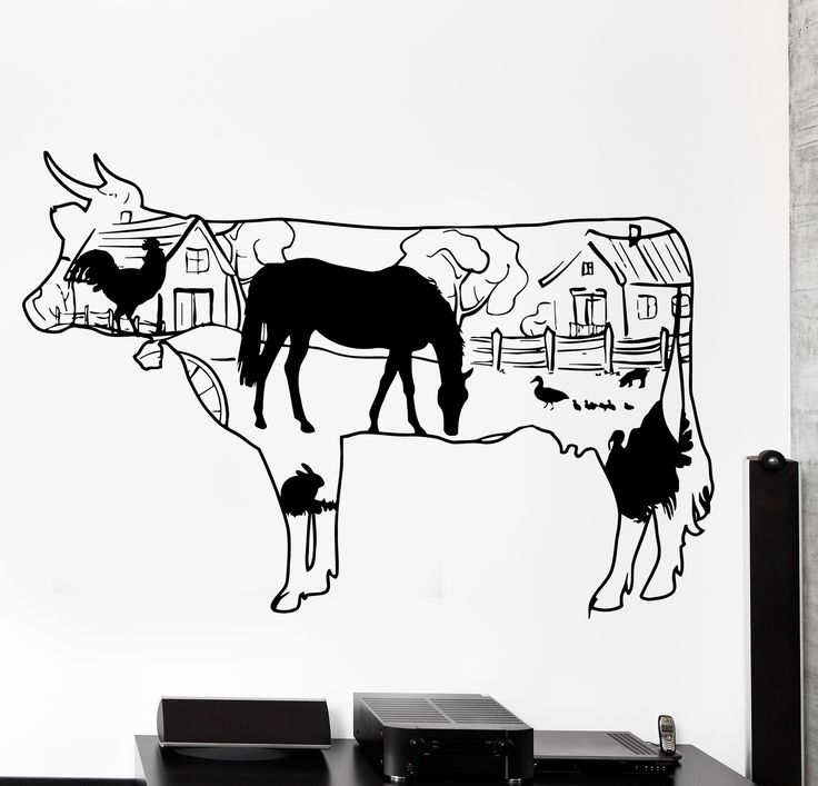 Wall Decal Farm Country Side Cow Horse Duck Rooster Home Interior Decor z4047