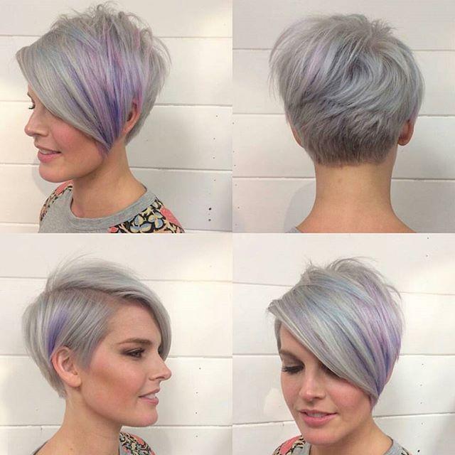 longger pixie cut with long bangs - gray hair color ideas