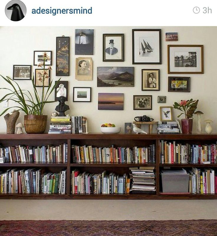 I like the low bookcases and pictures above