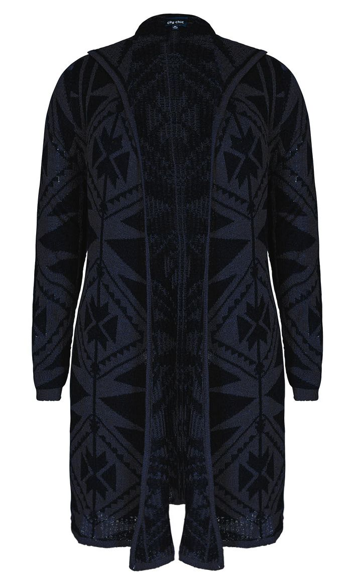 City Chic - AZTEC LONGLINE CARDI - Women's Plus Size Fashion