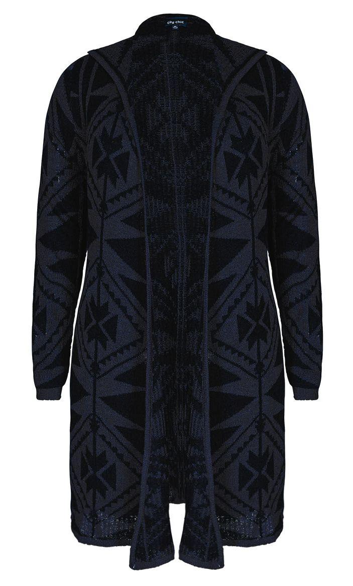 City Chic - AZTEC LONGLINE CARDI - Women's Plus Size Fashion