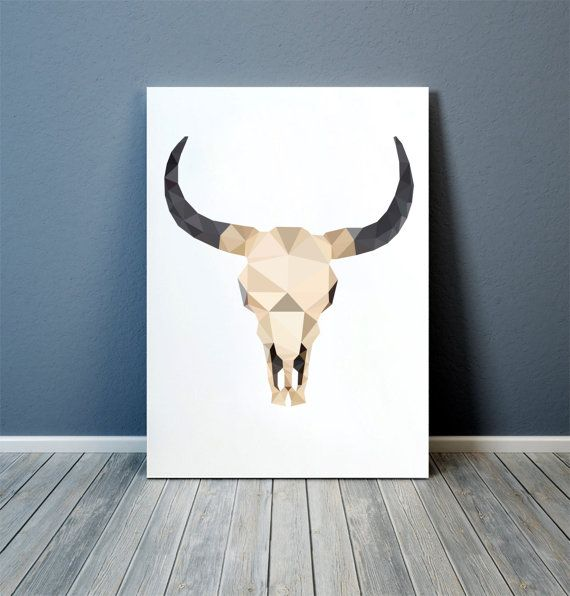 Anatomy print, colorful decor for your home and office. Modern art. Bull skull poster. Available in two sizes: A4 (8.2x11) and A3 (11.6x16.5).
