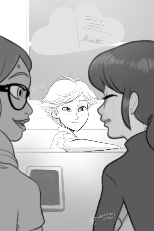 Adrinette Month Day fourteen: Valentine's day If Marinette had signed the card (but didn't remember.)