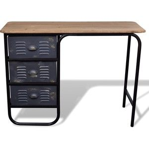 Gezien op beslist.nl: Bureau/dressoir met drie lades hout antiek look