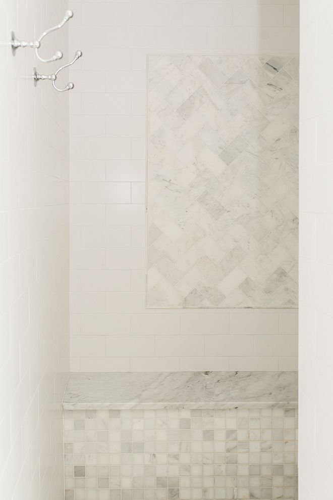 Classic Shower Combination Shower With White Subway Tile And Carrara Marble Subway Tile Accent Wall M Marble Shower Walls White Tile Shower White Marble Shower