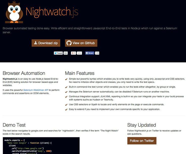Nightwatch.js - Node.js interface to Selenium WebDriver
