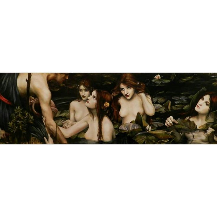 Hylas and the Nymphs  water soluble oils, 2012 *sold  #art #painting #paintingprocess #indirectpainting #waternymphs #waterhouse #hylas #water #studyingfromthemasters #atl #atlantaart #contemporaryart #oil #oilpainting #watermixableoils #watersolubleoils #beauty #nymph #seductive #justtryandresist #jessicalocklar