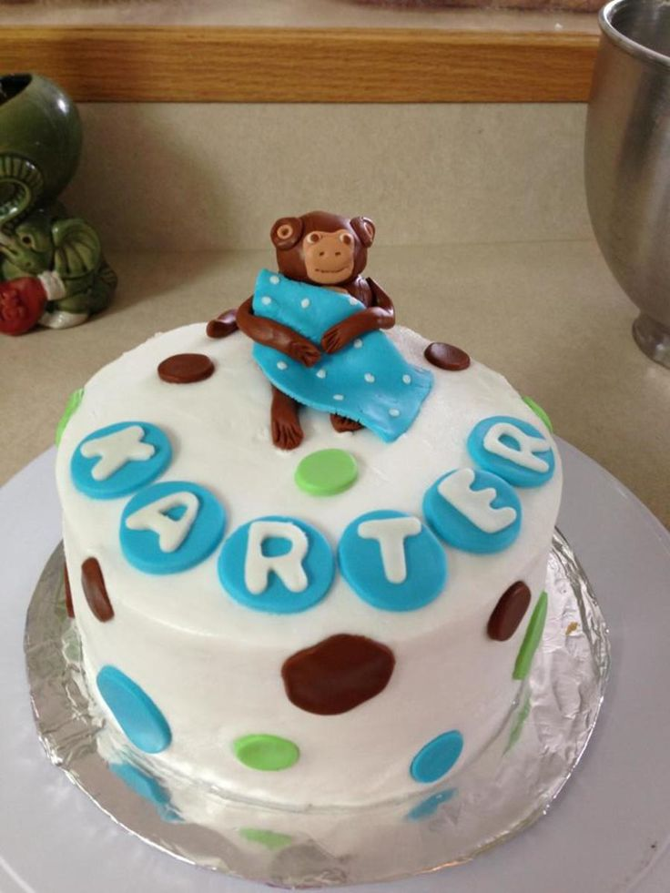 Baby shower cake in monkey theme for a baby boy vanilla buttercream with marshmallow fondant - Baby shower monkey theme cakes ...