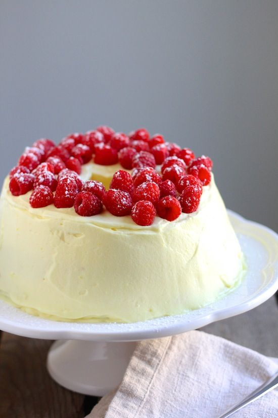 Lemon Raspberry Angel Cake
