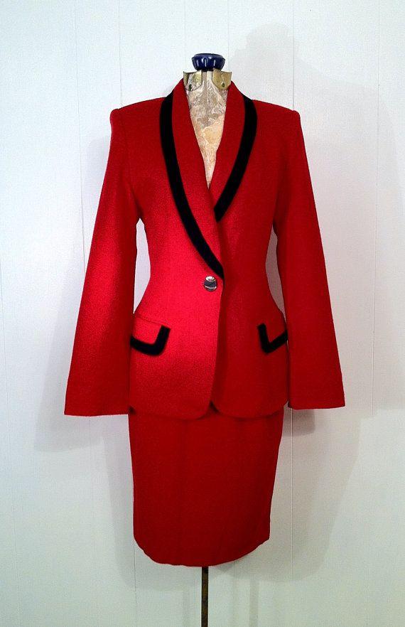 Retro Red Oleg Cassini Wool Skirt Suit  Black Trim  by SLVintage on Etsy