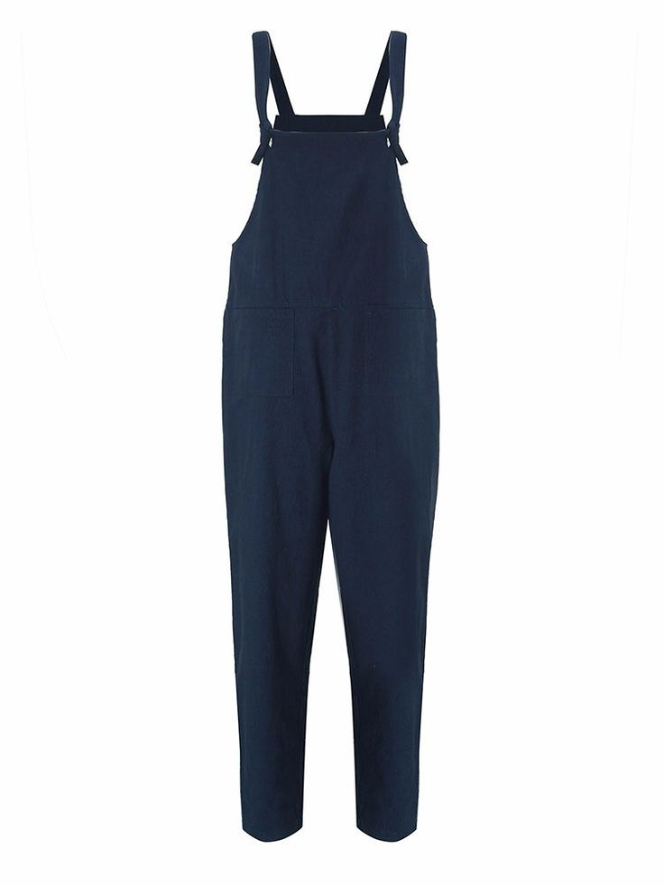Casual Solid Strap Pocket Jumpsuit Trousers Overalls For Women