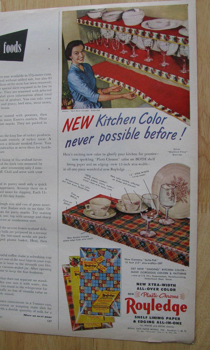 174 best vintage shelf paper images on pinterest shelf paper 0897 vintage magazine ad 1952 royledge shelf lining paper for kitchens