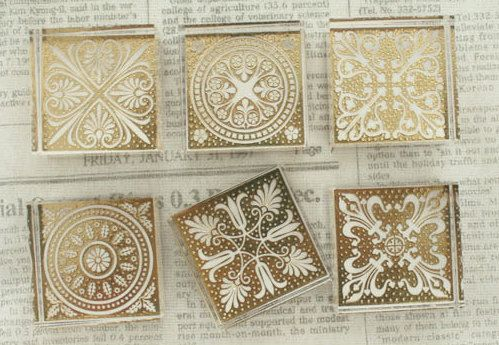 Crystal Square Lace Stamp Set -- Korean Rubber Stamps -- Deco Stamps -- 6 Styles in