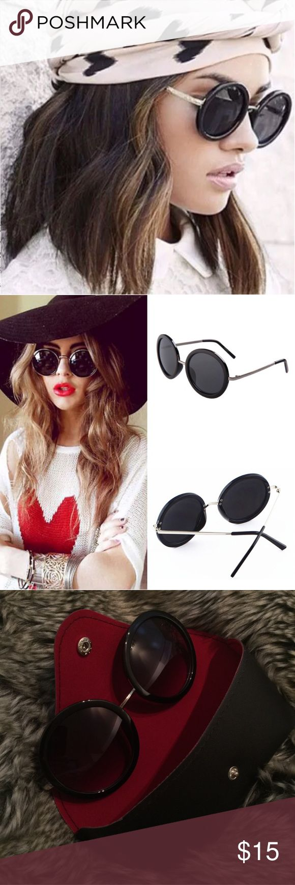 NEW Round Black Sunglasses Size: One Size Frame Color: Black Lens Color: Black  Comes with its own case for storage   Price is firm unless bundled Accessories Sunglasses
