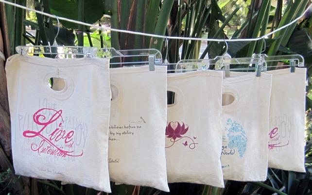 cute bags w/ positive qutoes