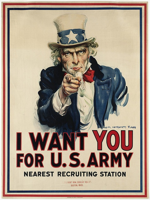U.S.  I Want You for U.S. Army poster, WWI, 1917 // James Montgomery Flagg   via Flickr by Boston Public Library