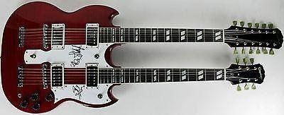 Led Zeppelin (Page, Plant, Jones) Signed Double Neck Epiphone Guitar #