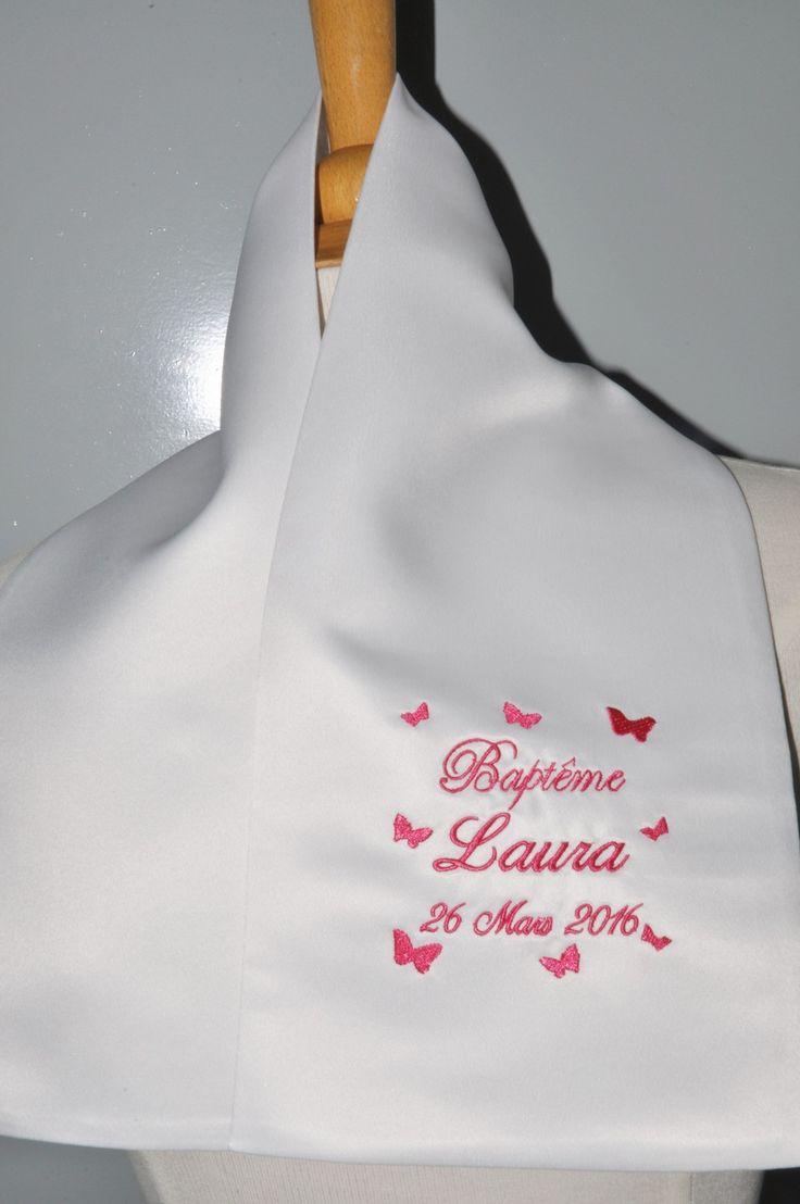 écharpe de baptême enfant papillons personnalisée brodée pour garçon ou fille : Mode Bébé par lbm-creation