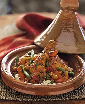 Chicken Tagine with Chickpeas and Mint Recipe at Epicurious.com