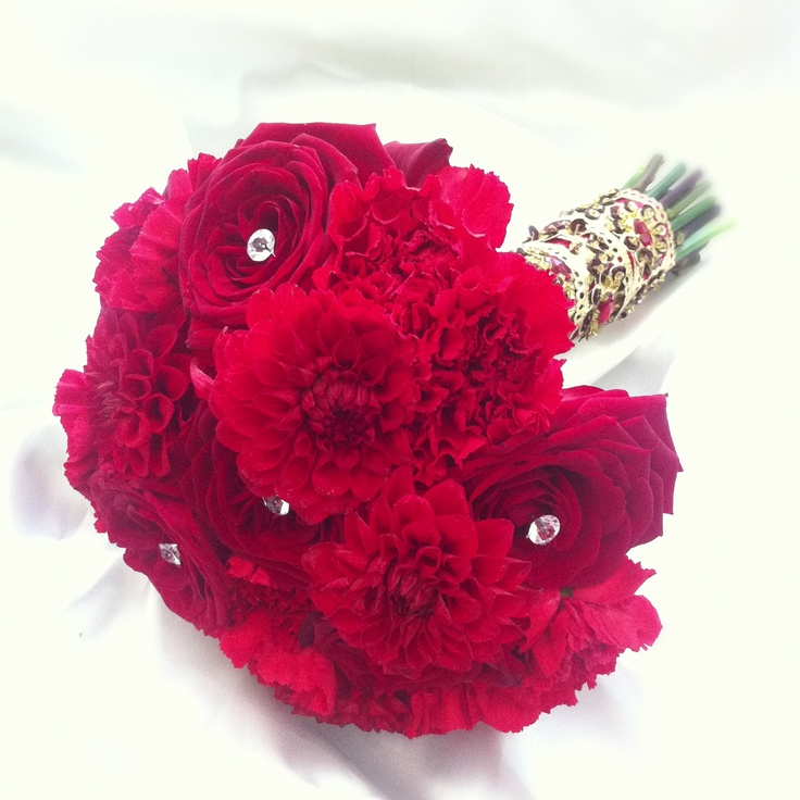 Wedding Bouquet With Dahlias : Red rose and dahlia bridal bouquet wedding ideas