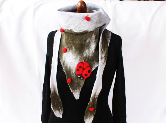 Ladybug Wool Triangle Scarf Design OOAK Felt Wrap Eco Lady