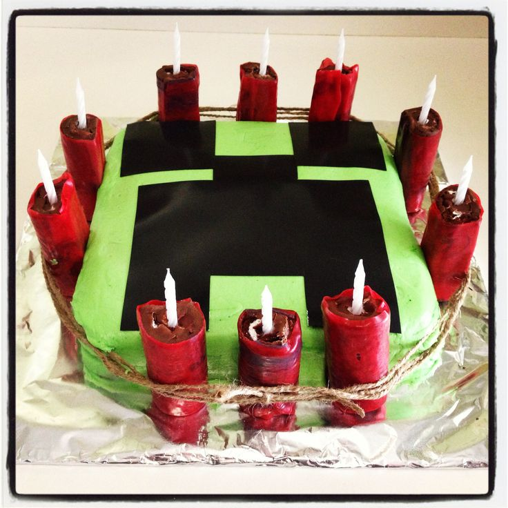 My sons 10th birthday Mine-Craft cake. The dynamite was Swiss cake ...