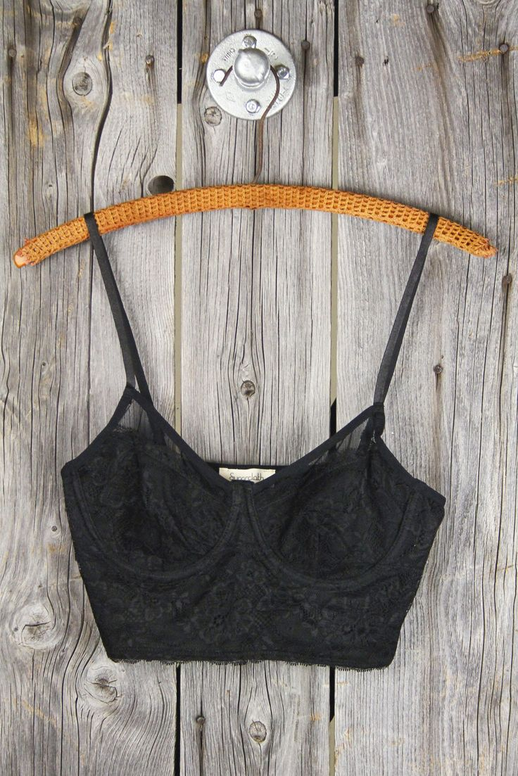 Underwire Mesh & Lace Longline Bralette - Black