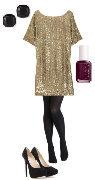sparkly tunic paired with tights makes a perfect New Year's Eve outfit. Great idea!: