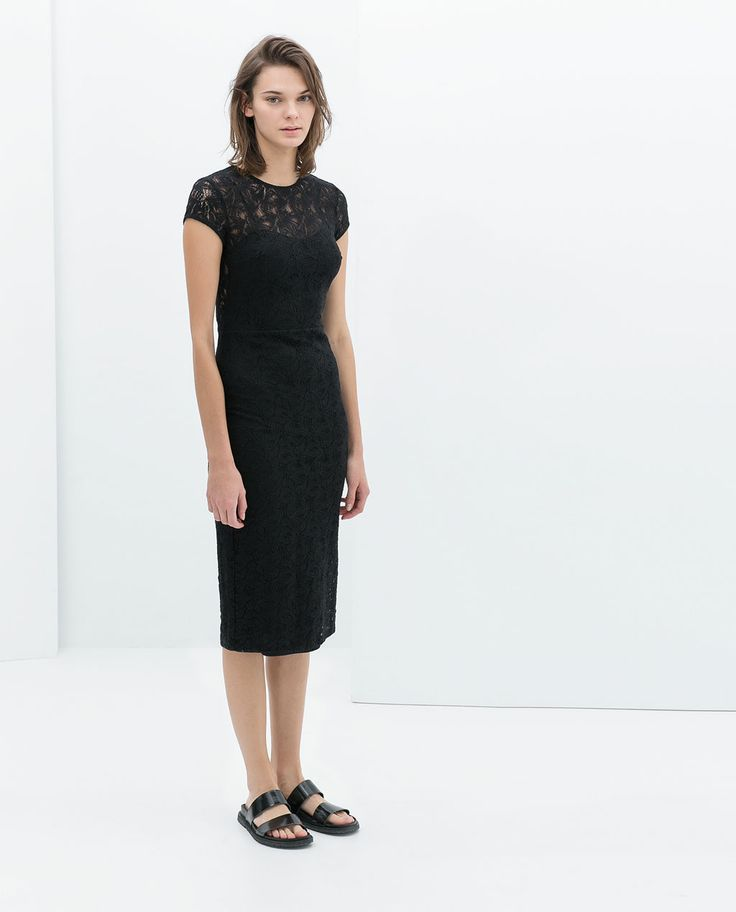Image 1 of FITTED LACE MIDI DRESS from Zara