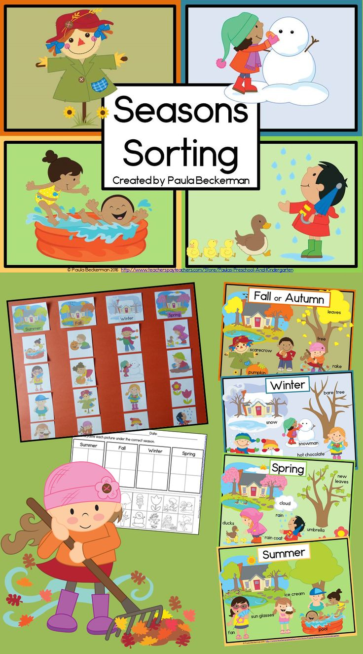 Seasons Sorting is a hands on science center just right for kindergarten or first grade! My kids love this activity, especially the beautiful vocabulary posters. TpT $