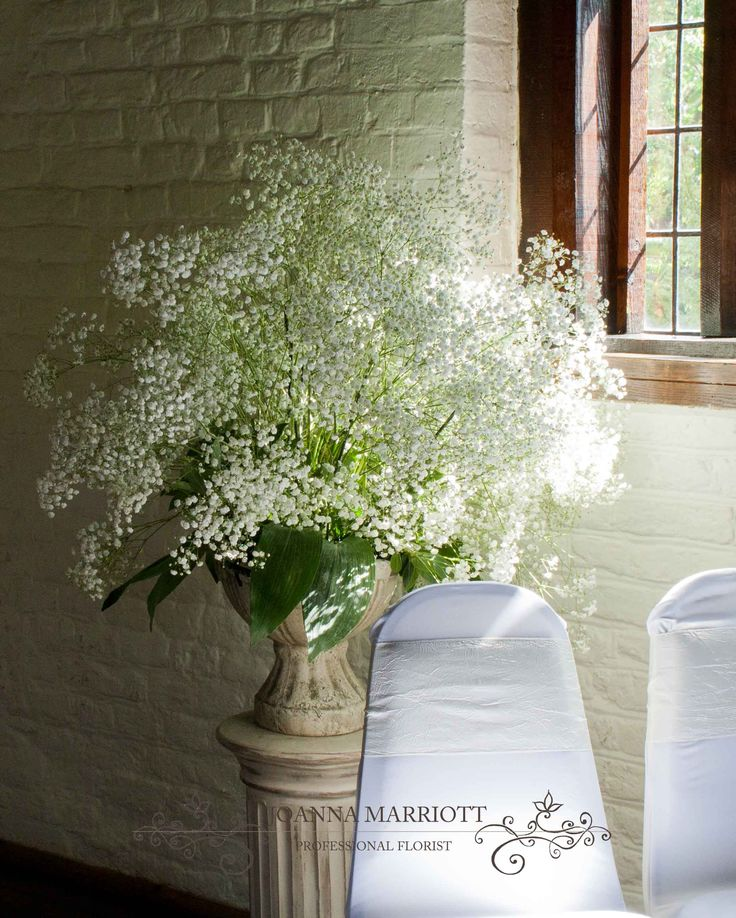 Flower Arrangement For Church Wedding: Gypsophila Pedestal Arrangement Perfect For Wedding