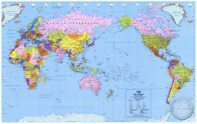 Weltkarte politisch 1:20 M Pazifik-Ansicht