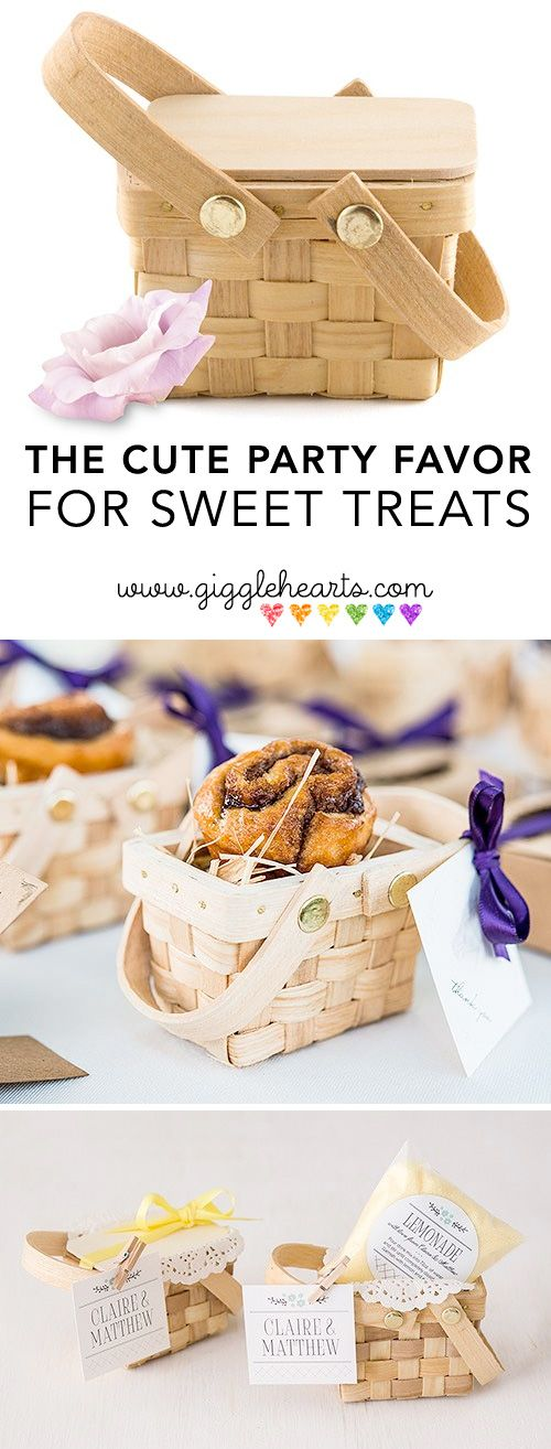 These mini picnic baskets from Madeline's Weddings are such a sweet party favor idea for garden parties, summer celebrations and of course rustic weddings. As seen on www.GiggleHearts.com - the place for colorful party planning ideas