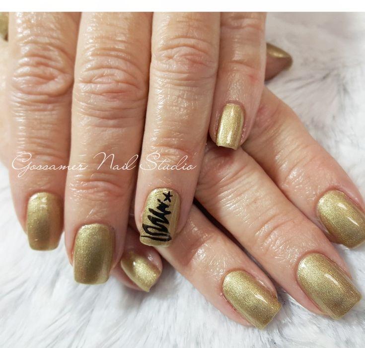 CND Shellac Nail Art by Gossamer Nail Studio, locket love, gold, Christmas tree, simple