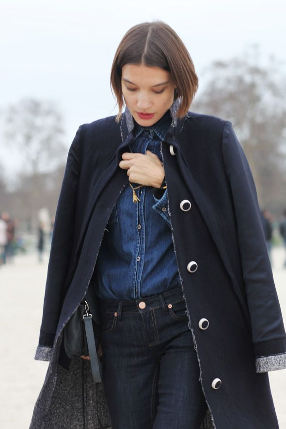 denim on denim: Denim On Denim, Fashion, Winter, Blue, Denim Shirts, Jeans, Street Styles, Coat, Chambray