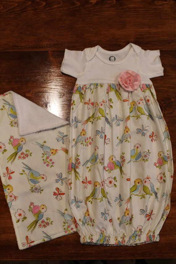 Handmade baby girl onsie gown and matching by threebirdsthreads, $24.50