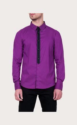 Cult premium Overhemd Eden paars. Paars overhemd voor heren. Het overhemd heeft zwarte details bij de kraag en de knoopsluiting. #zomercollectie #zomerkledingheren #zomerkleding