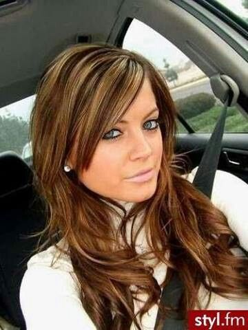 Carmel colored hair with honey blonde highlights