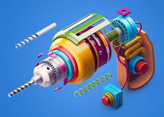 Deflect everyday objects to make them fun and graphics is the project of 3D artworks created by Zhivko Terziivanov.