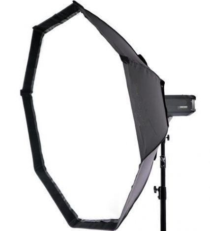 Softbox Octagonal  95cm - R$ 360,00  Com o mesmo sistema de montagem dos soft lights. Refletor desmontável com difusores removíveis interno e externo. Proporciona luz difusa direta, duplamente filtrada e suave. Quanto