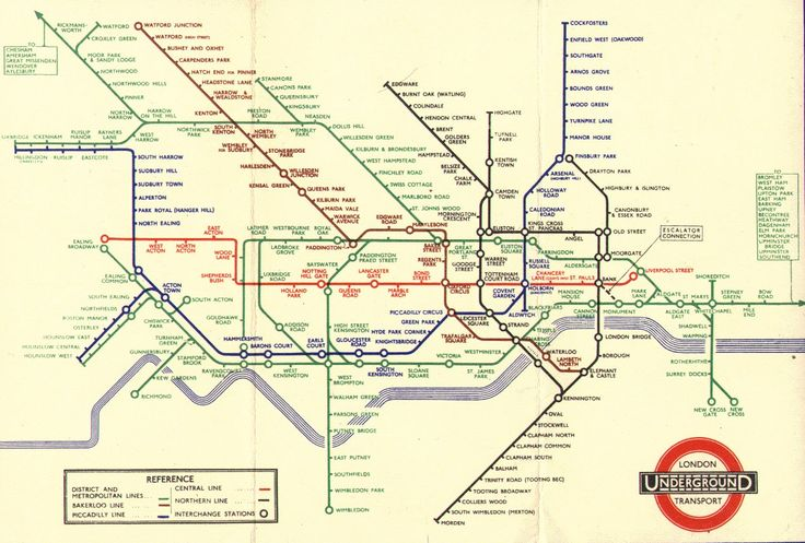 London Underground map. The best piece of graphic design. Ever. Harry Beck created a visually interesting yet utterly practical map that is much copied. This version is from 1938
